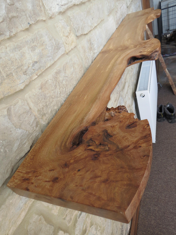 Live Edge Floating Elm Shelf Waney Wood Shelving In