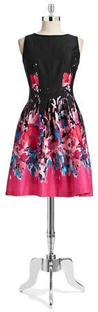 Chetta B Floral Box Pleated Dress-BLACK/PINK-10