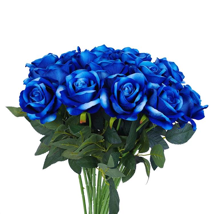 16 Pcs Artificial Blue Roses Royal Blue Artificial Flowers Jad Flower Blue Roses Artificial Roses Artificial Flowers