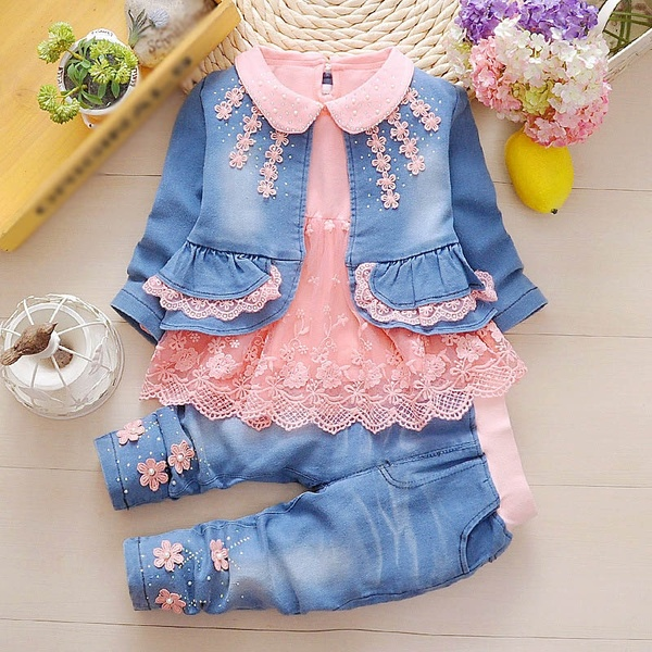 f3d0d2280a1b Spring Autumn Infant Baby Girls Denim Clothing Set 3pcs Lace Long ...