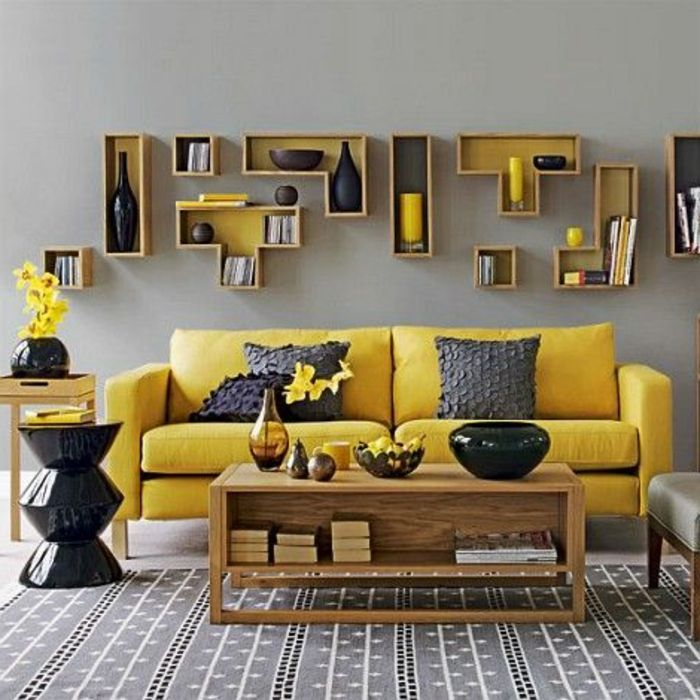 1001 variantes de salon gris et jaune pour vous inspirer l 39 essayer deco jaune tag res. Black Bedroom Furniture Sets. Home Design Ideas