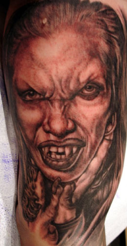 40fe1dc1e Very evil looking female vampire tattoo | Female Vampire Tattoos ...