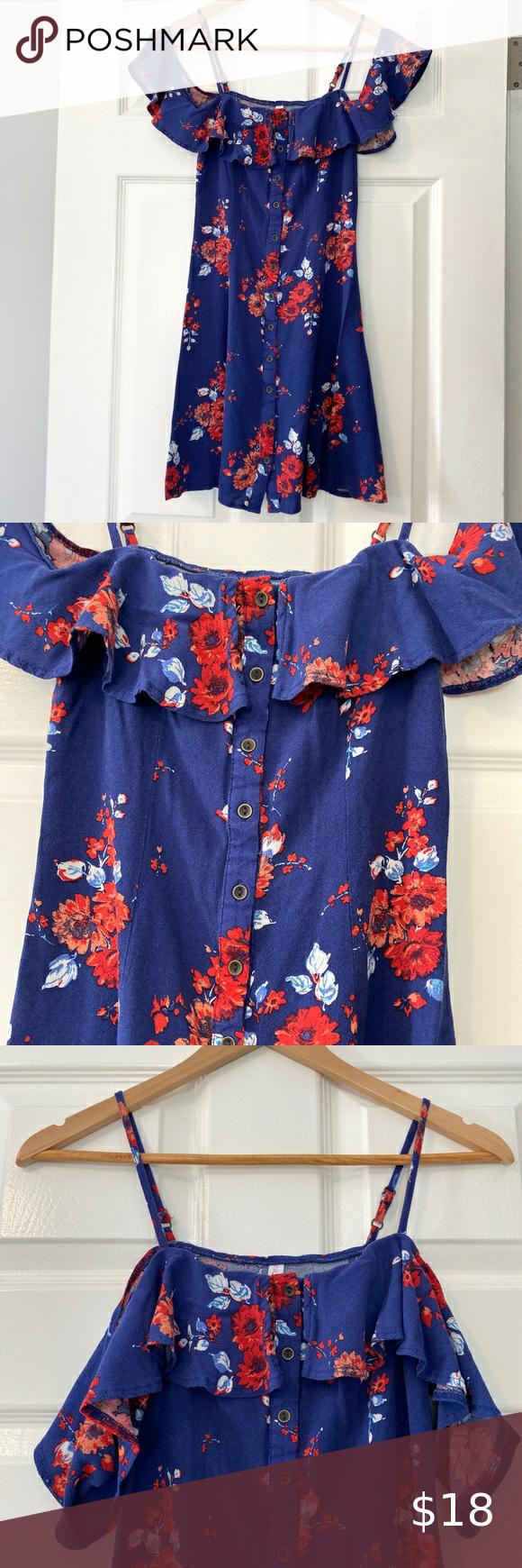 Target Blue Floral Off The Shoulder Button Dress Extra Small Dress Sheer Mini Dress Mini Sweater Dress [ 1740 x 580 Pixel ]