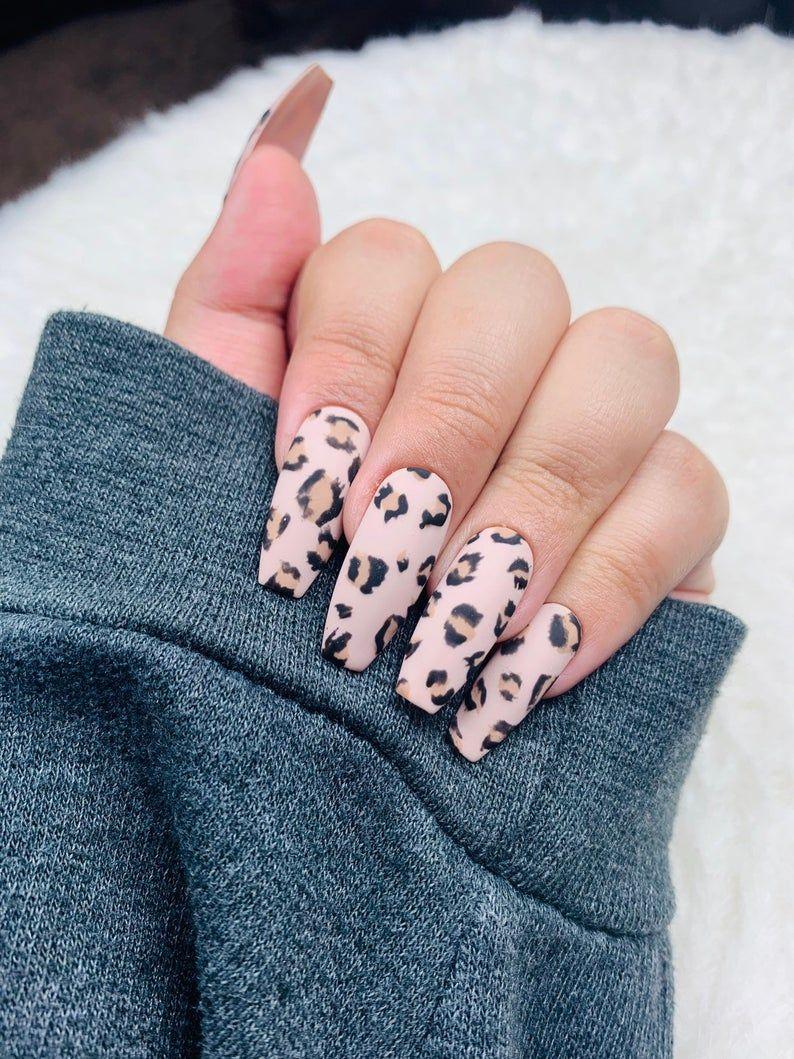 Cheetah Press On Nails Cheetah Nails Brown Nails Fake Etsy Beige Nails Cheetah Nails Brown Nails