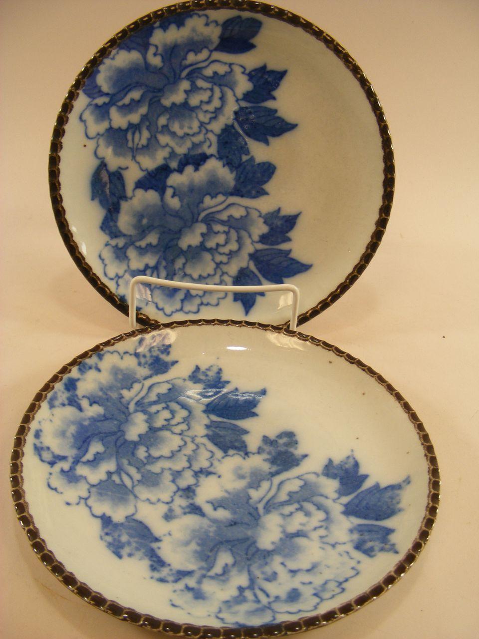 Pr Japanese Imari Peony Plates 7 1 2 Blue White C 1875 Blue