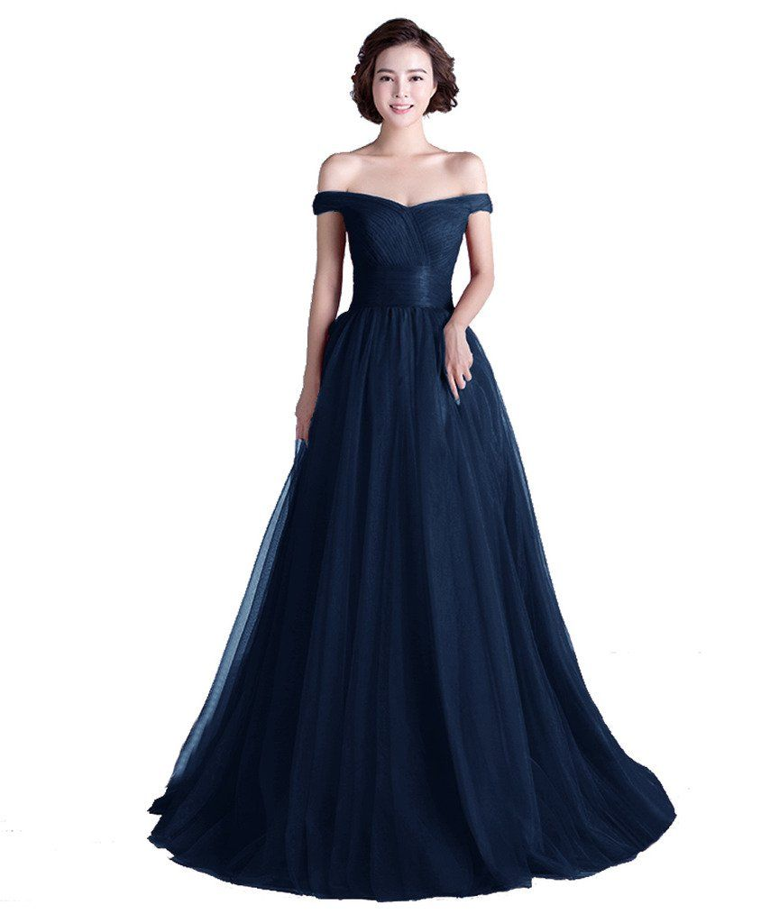 Tivansi Women's Long Tulle Boat Neck Prom Formal Evening Dresses | Amazon.com