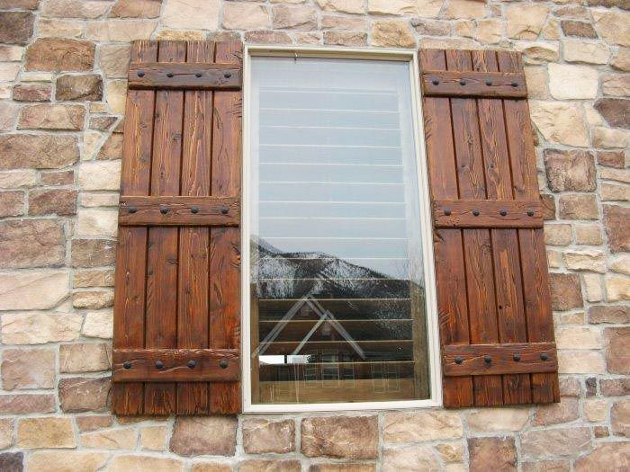 Exterior wood shutters decorative provide privacy for Wood doors and shutters