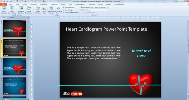 Heart Cardiogram Animated Powerpoint Template  Places To Visit