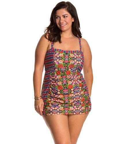 Jessica Simpson Plus Size Folkloric Front Shirred Bandeau Swimdress at SwimOutlet.com - The Web's most popular swim shop