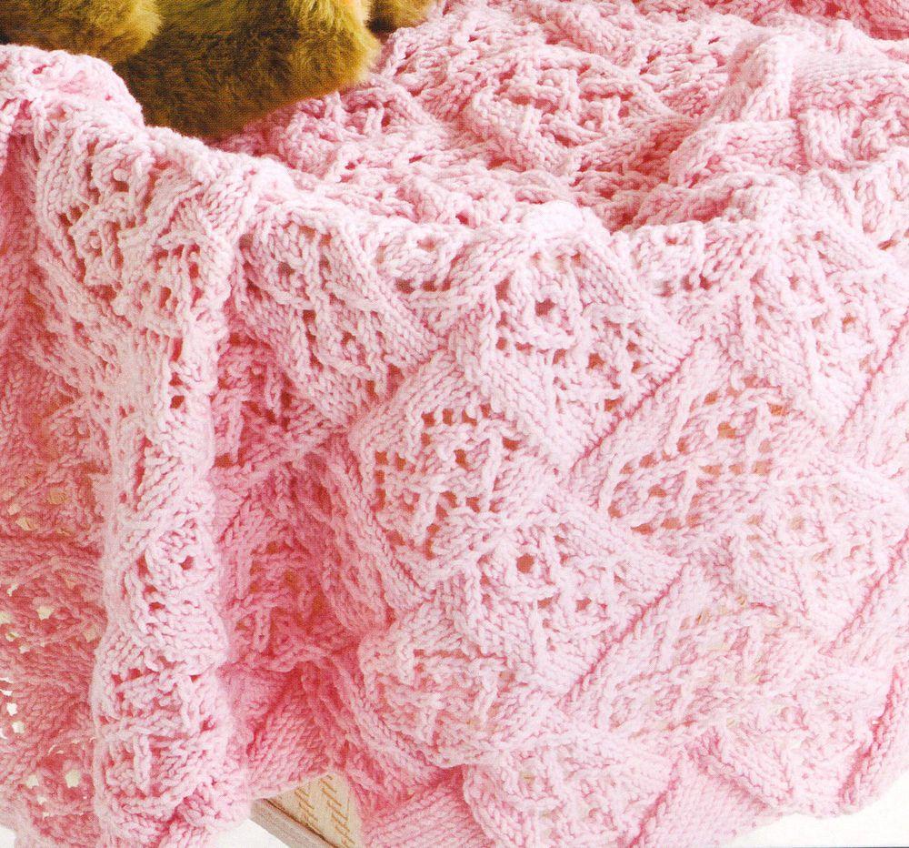 Lace Stitch Entrelac Baby Blanket ~ DK Knitting Pattern ~ 26\