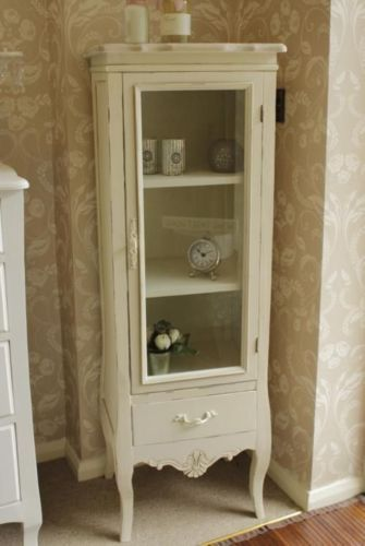 Cream Glass Door Display Cabinet Storage Unit Vintage Country French  Chic Living