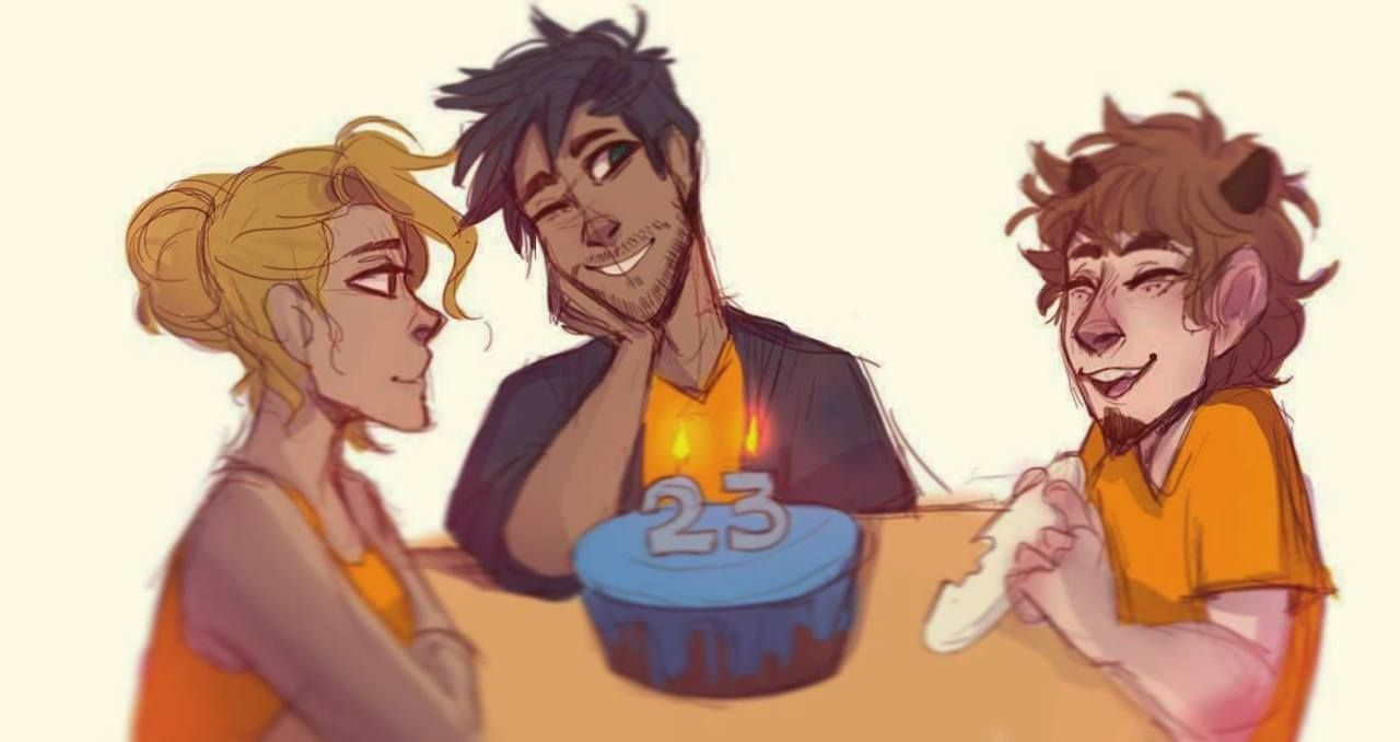 Percy S Bday With Grover And Annabeth I Have A Dam Problem