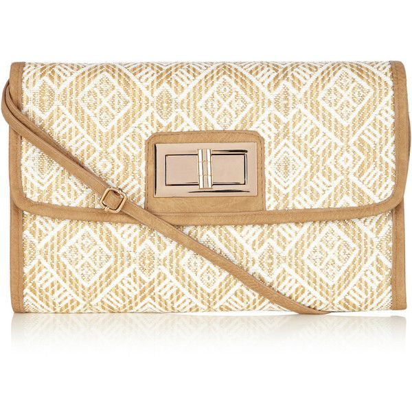OASIS Straw Weave Clutch Bag (£7) ❤ liked on Polyvore featuring bags, handbags, clutches, white, straw handbags, metallic purse, straw purse, white crossbody purse and straw crossbody