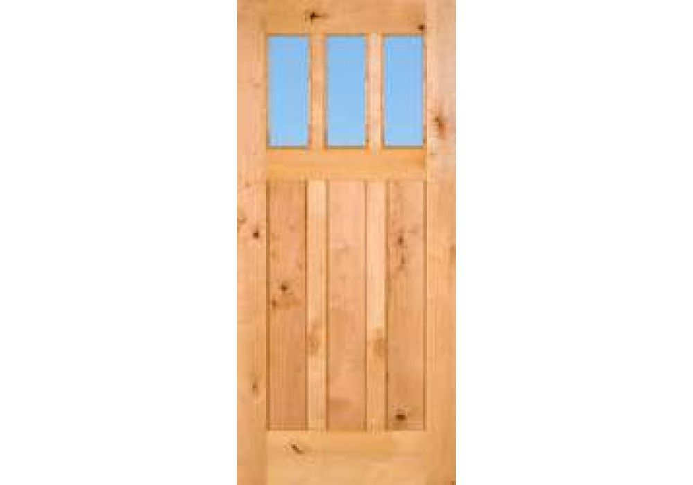 Craftsman3LiteClear   Knotty Alder 3 Lite Craftsman Door With Clear Glass  (1 3 · Eto DoorsWood Front ...