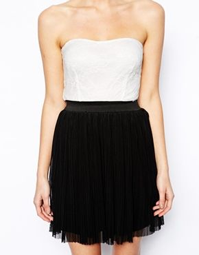 Love Lace Bandeau Skater Dress with Pleat Skirt
