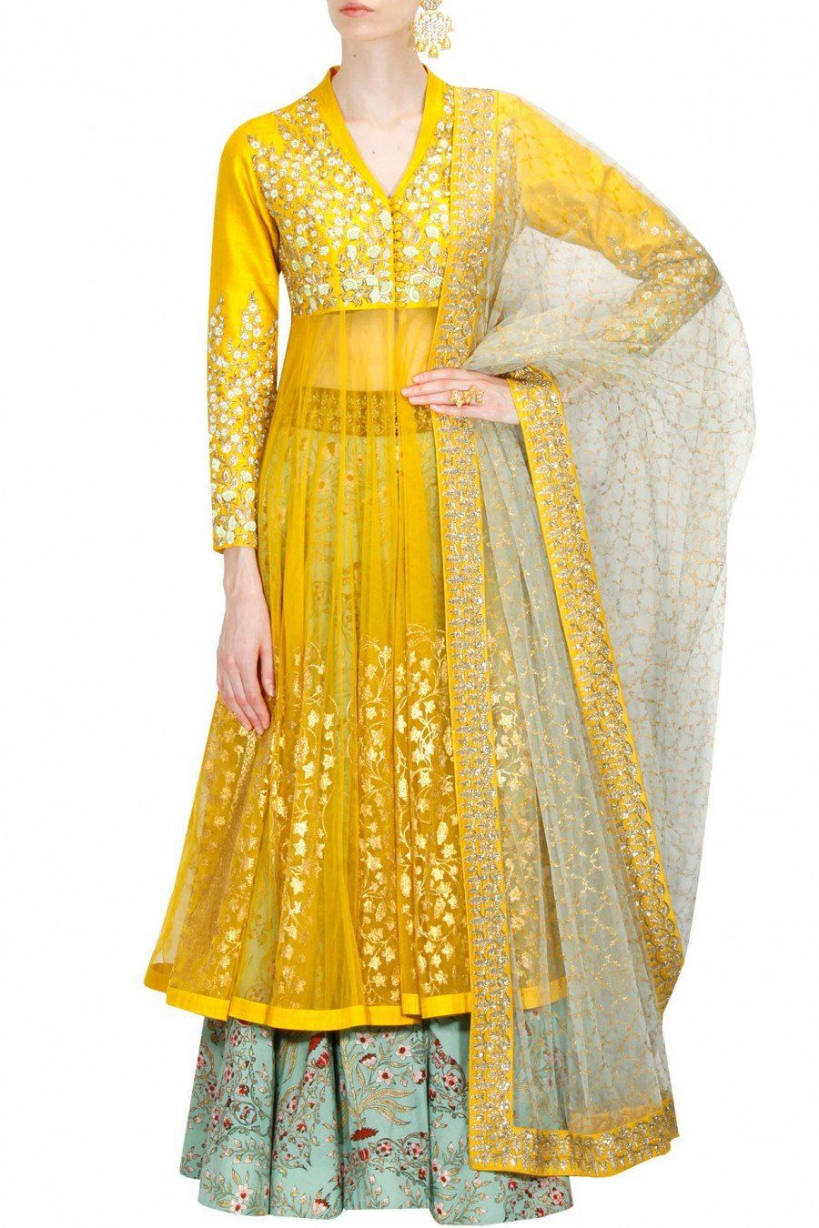 eaaf6317aac1 Featuring this yellow sharara set with floral threadwork and gold dabka  embroidery on the yoke and sleeves.