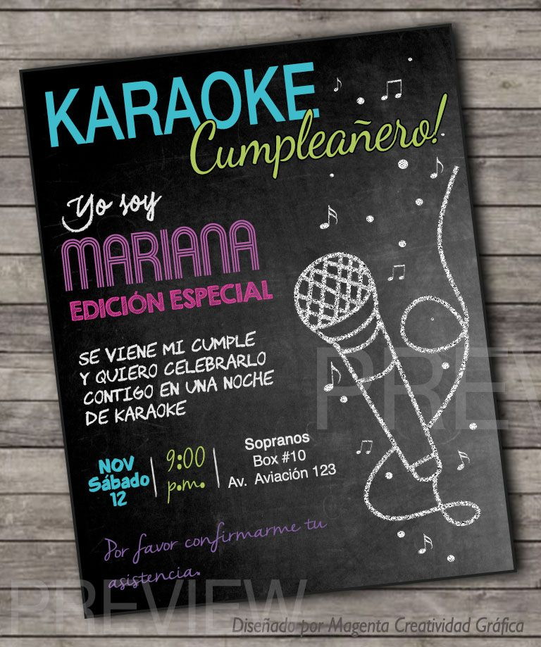 English Español Karaoke Digital Card Invitation Pizarra
