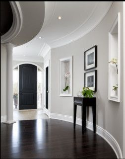 Dark Espresso Floors And Doors Gray Walls White Trim Home