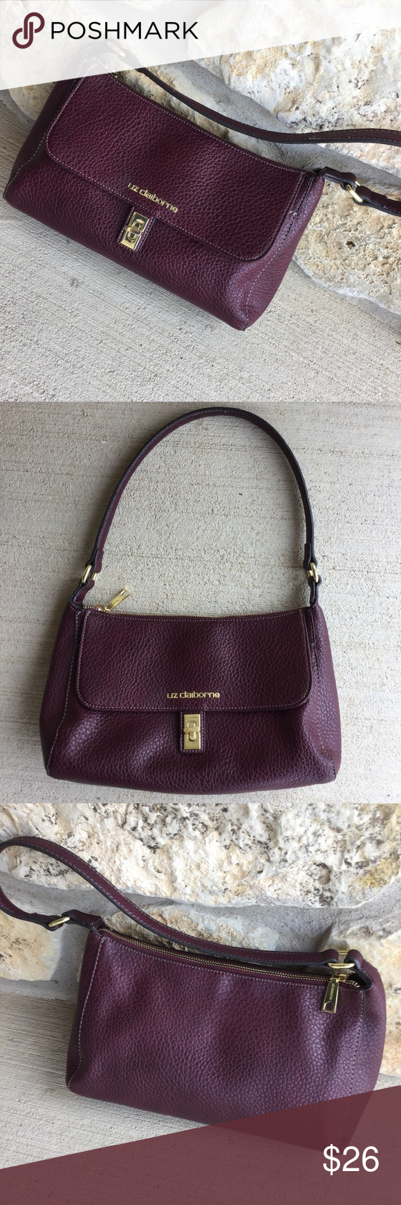 "Liz Claiborne Leather Handbag, Maroon/Burgundy This baguette style purse is made of beautiful pebbled leather with gold clasp, lettering, etc.  In very good condition, outside and inside zippers work, inside is clean, and there are no scuffs or scratches in the leather. Measures 12""x7""x4"". A great find! Bundle with my other items for a discount if you save on shipping. I ship quick! Liz Claiborne Bags"