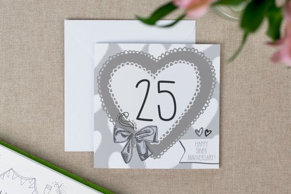 Silver years anniversary card s crafts and info