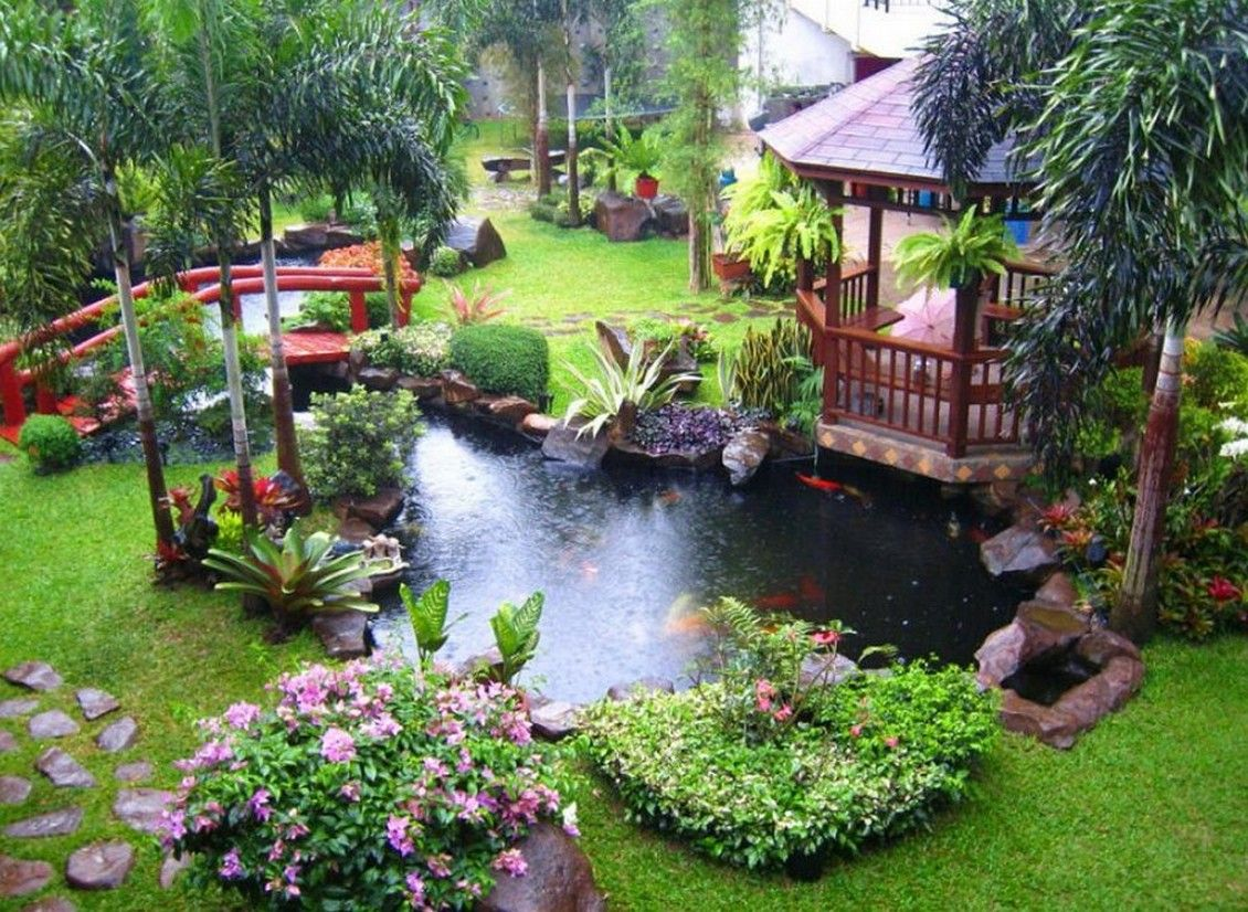 Garden Design Tropical cool backyard pond & garden design ideas | amazing architecture