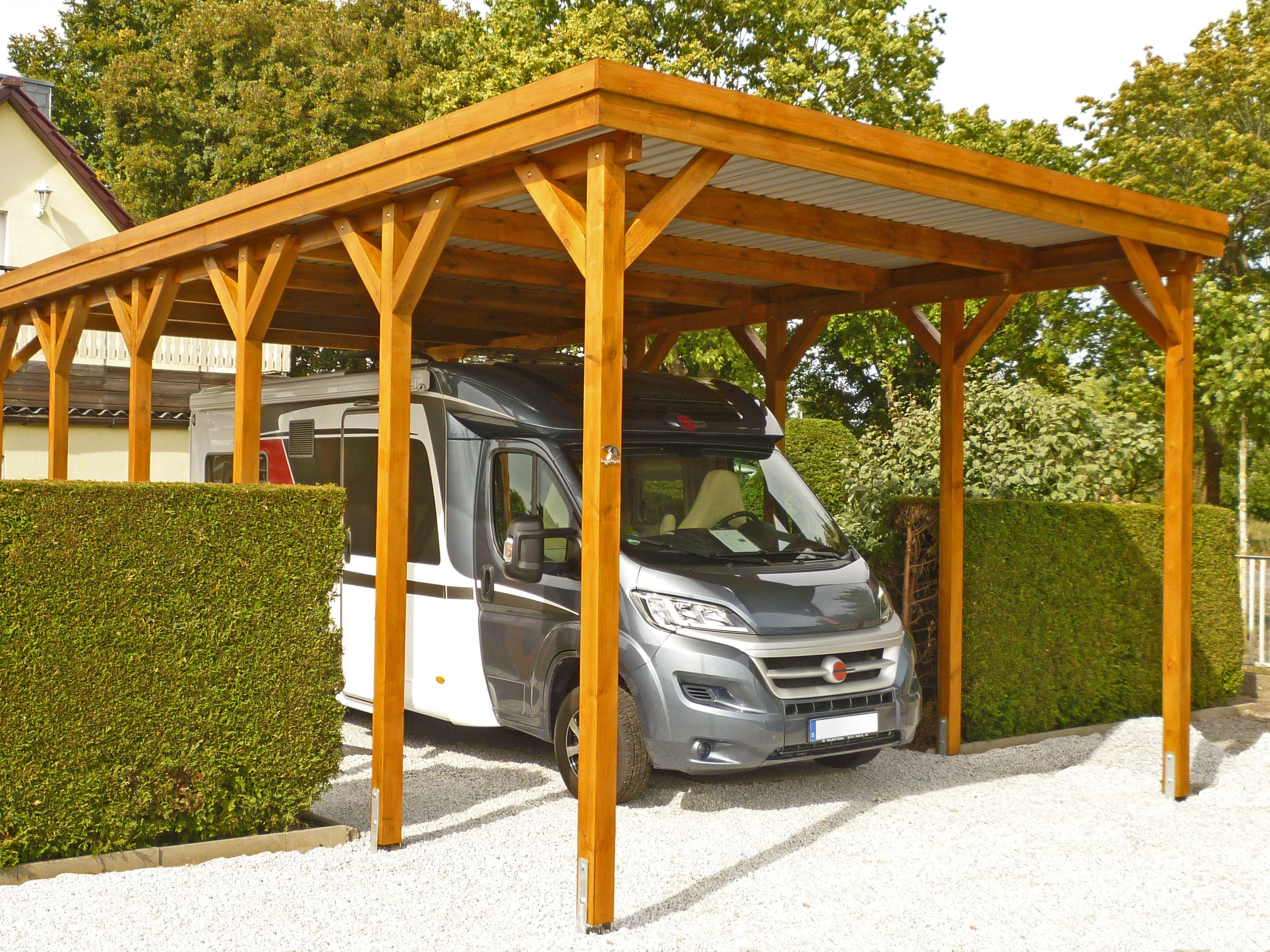 WohnmobilCarport aus Holz mit Komfortbreite, Lichte Höhe