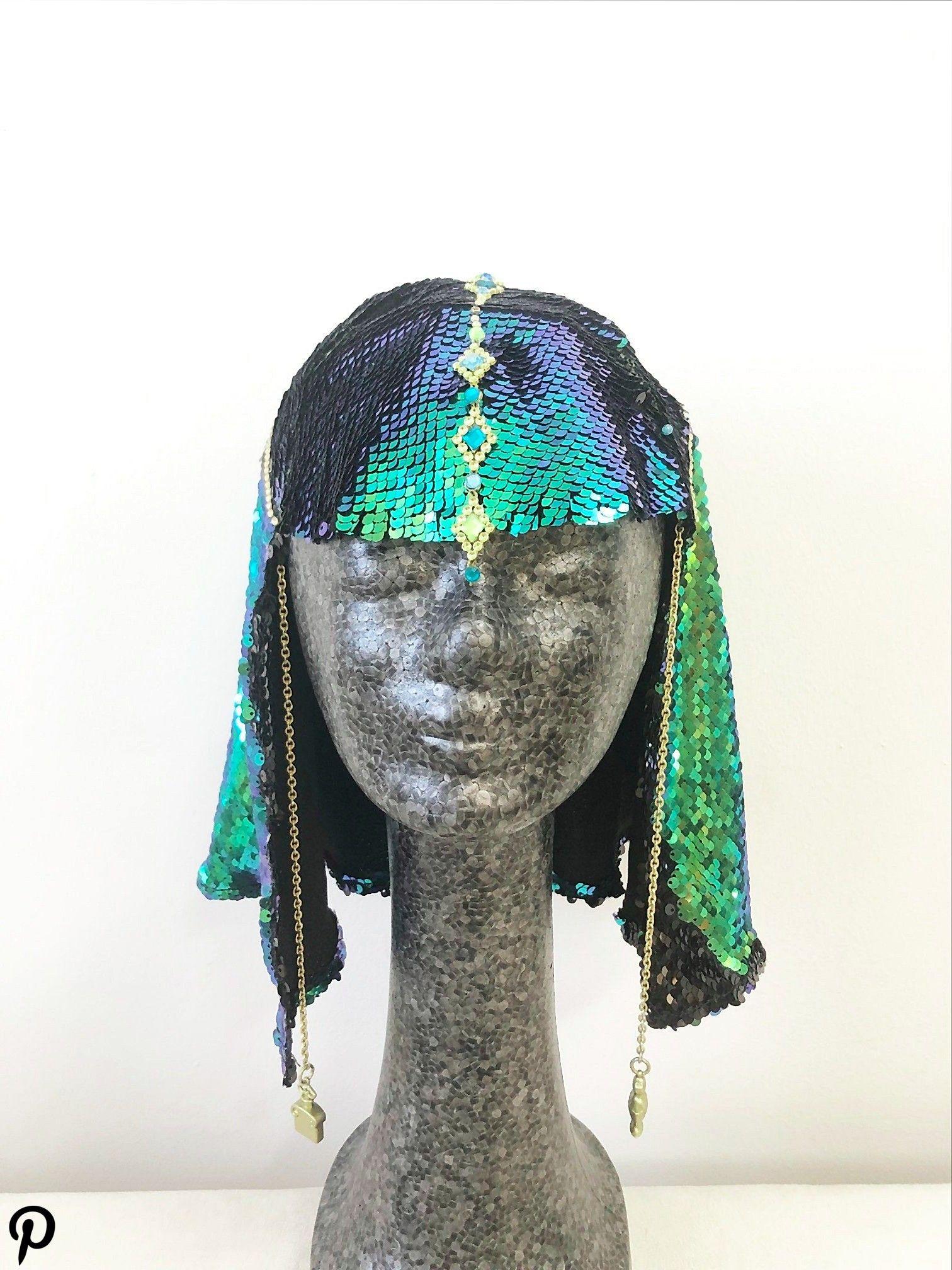wig headpiece mermaid sphinx onesize festival clothes headdress Burningman wig headpiece mermaid sphinx onesize festival clothes headdress Burningman