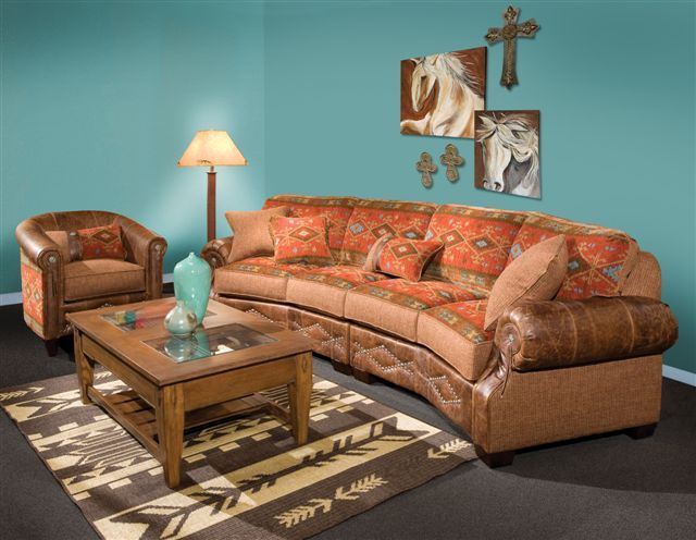 A Wonderful Curved Southwestern Sofa And Matching Chair