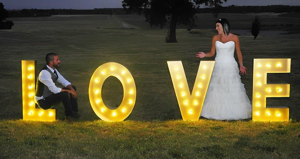 barn or farm wedding letter standee with lights perfect for newly wed pictorial
