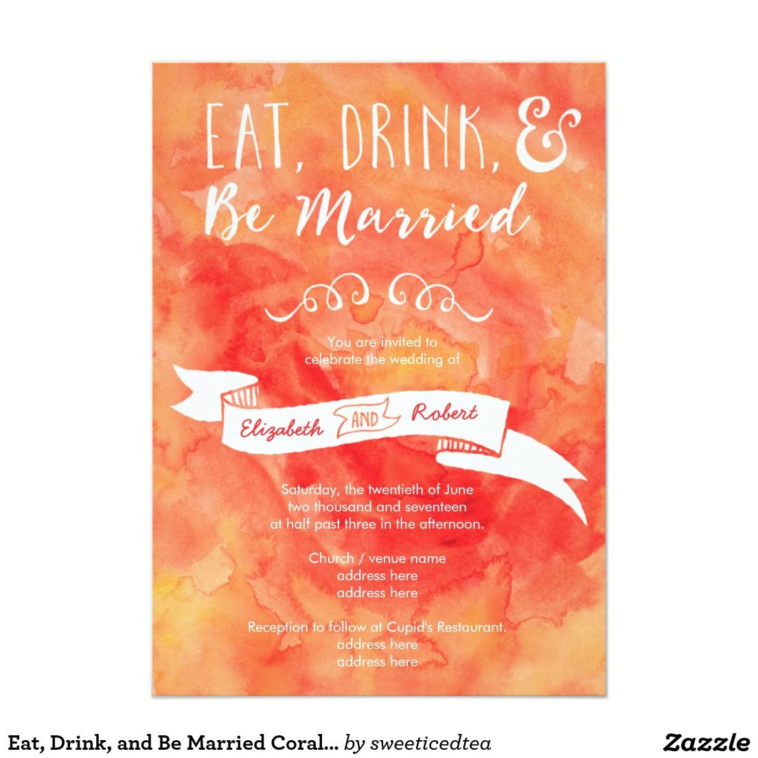 Eat, Drink, and Be Married Coral Wedding Card