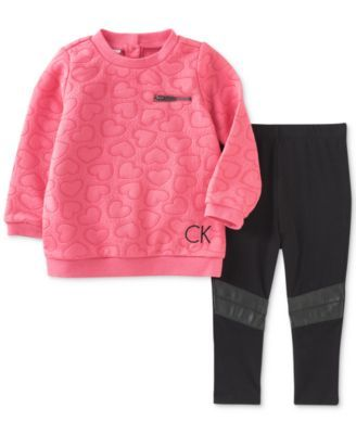 38a9d9ae0f5 Calvin Klein 2-Pc. Quilted Heart Tunic & Leggings Set, Baby Girls (0-24…