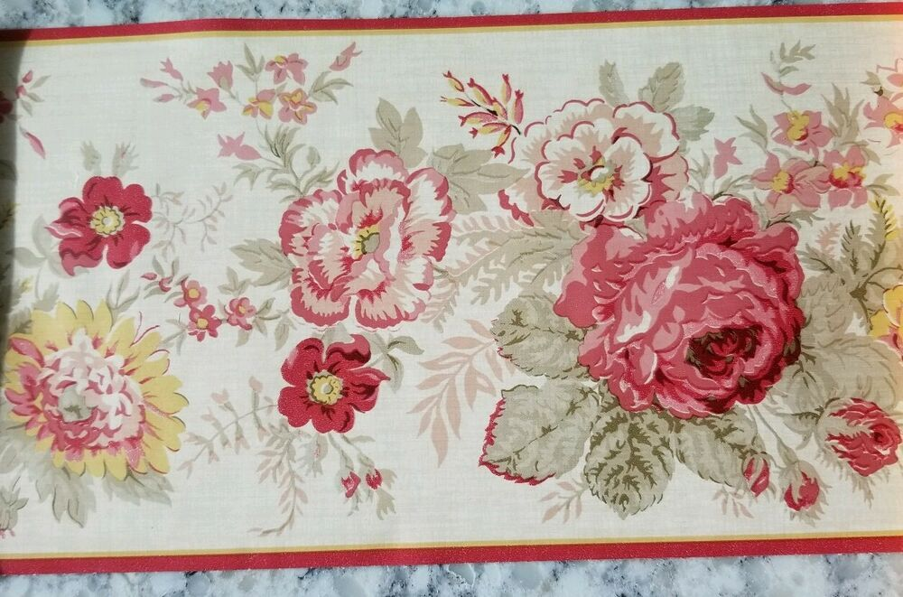 WAVERLY FLORAL ROSES IN PINK/RED PREPASTED WALLPAPER