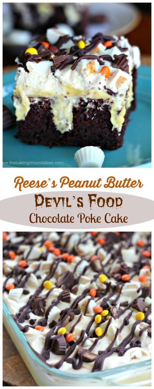 Reese's Peanut Butter Devil's Food Chocolate Poke Cake #chocolatepeanutbutterpokecake
