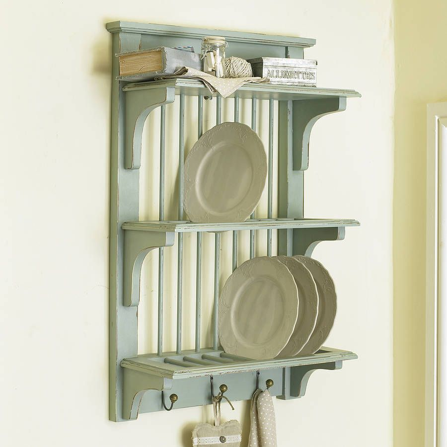 Rustic Wall Plate Rack With Hooks | Plate racks, Rustic walls and ...