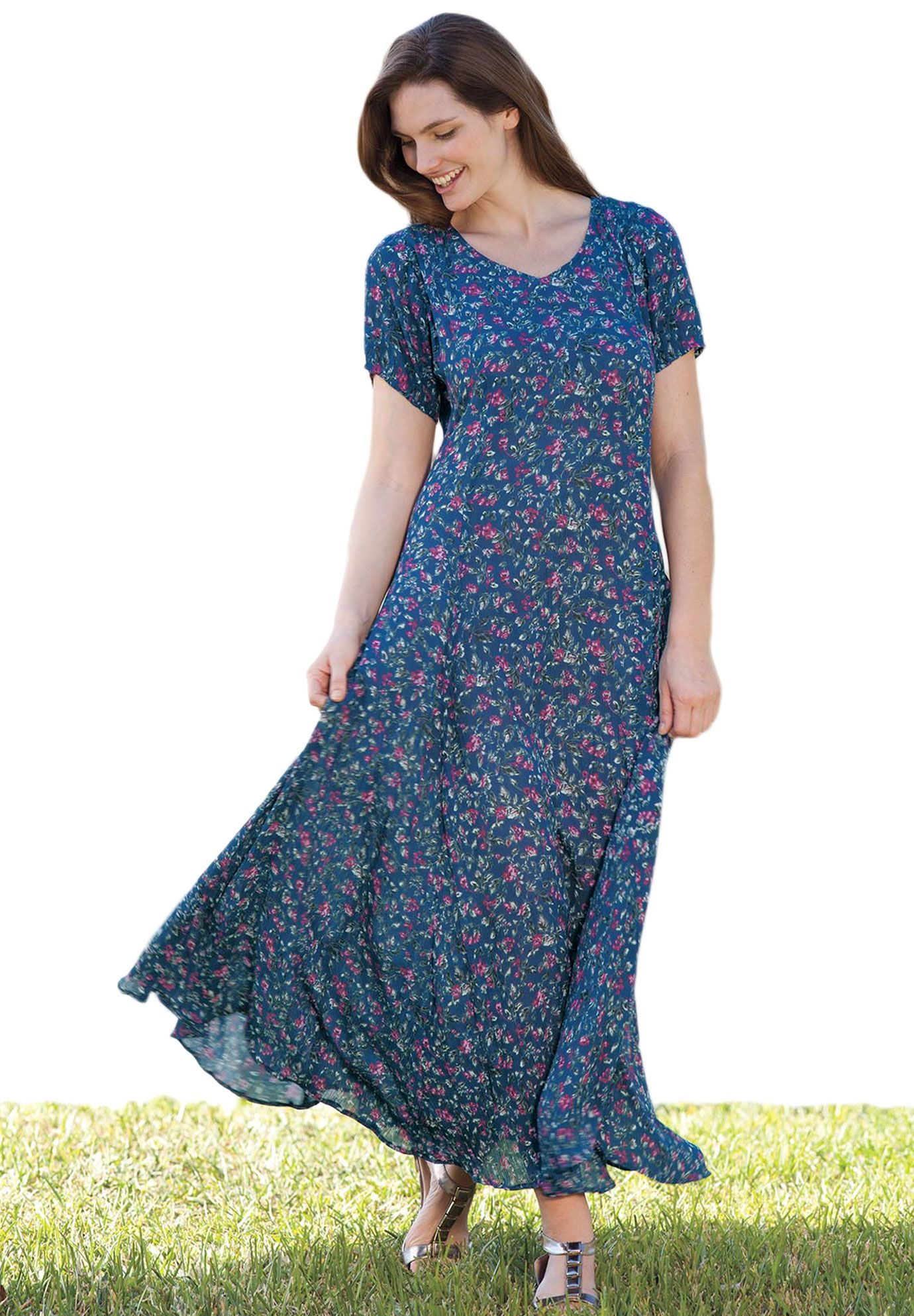 8cab04d8b5914 Dress in Maxi Length, floral print, crinkle fabric | Plus Size Maxi Dresses  | Woman Within