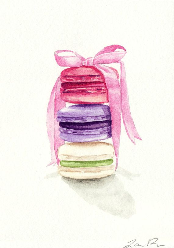 Macarons Tied With A Pink Bow Original Watercolor 5 X 7