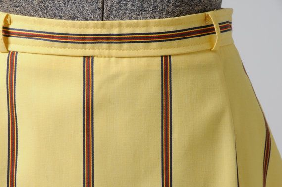 1980s butter yellow with multicolored stripes midi length skirt, vintage colorful high waisted straight skirt w. back kick pleat by InPastTimes