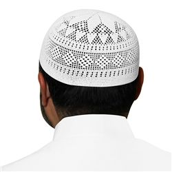 White Swiss Cotton Knitted Kufi Muslim Prayer Mens Skull Cap - 20 inch ddf85c30c28