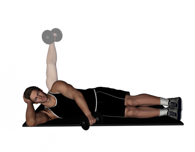 Lying Lateral Raises: Target: Medial Deltoids; Start: Lie on your side on  the floor or a flat bench; Start with the dumbbell at y… | Deltoids, Body  pump, Exercise