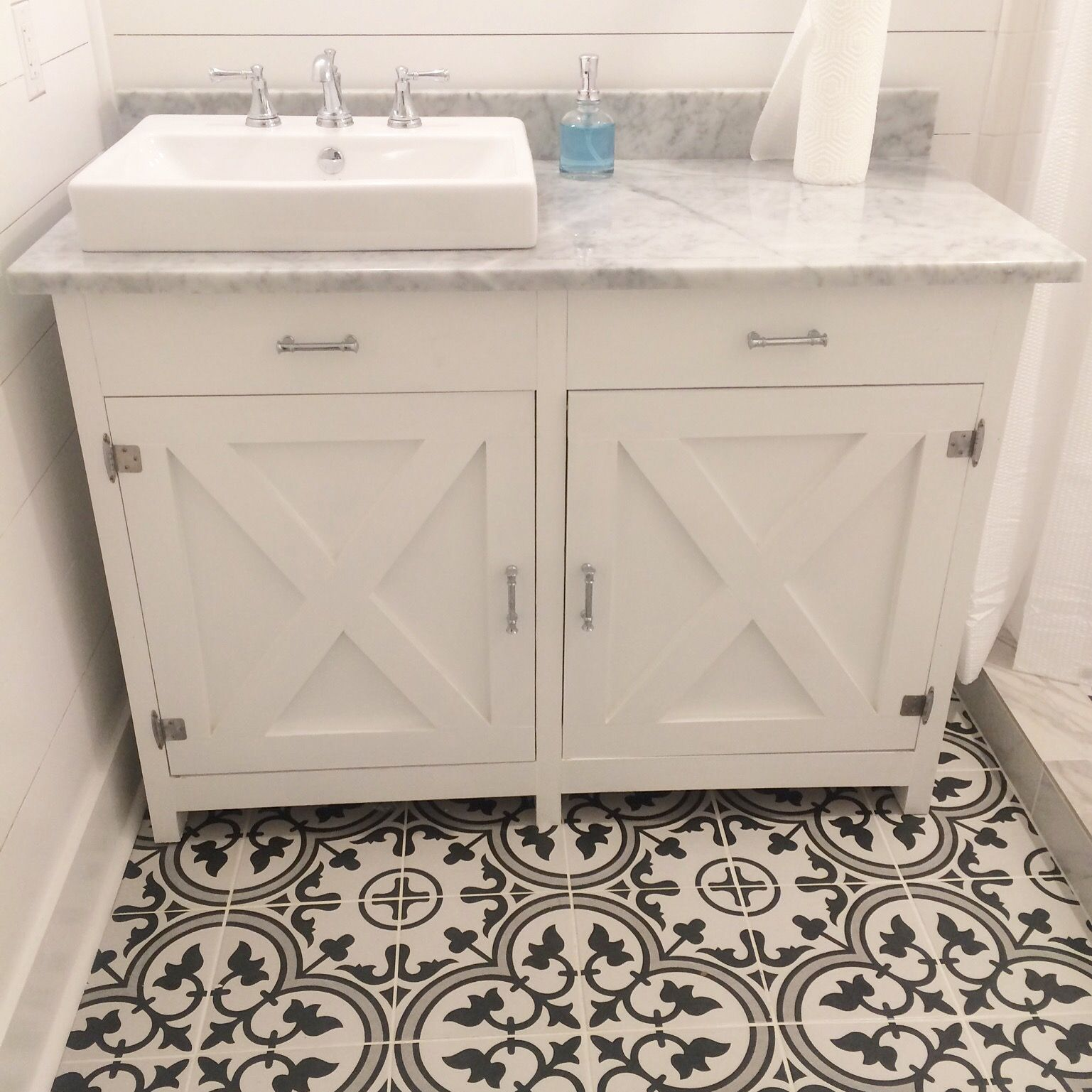 Farmhouse vanity with carrera marble top. Jacuzzi brand farm sink ...