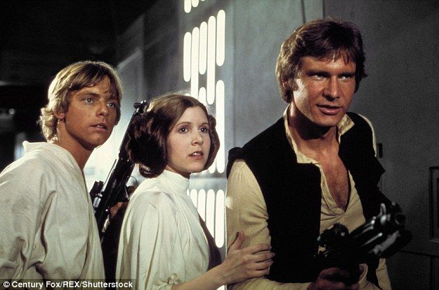Fisher (center), pictured with Mark Hamill as Luke Skywalker (left) and Harrison Ford as Han Solo (right) is best remembered as the tough, feisty and powerful Princess Leia in the original Star Wars in 1977 and the following films in the series