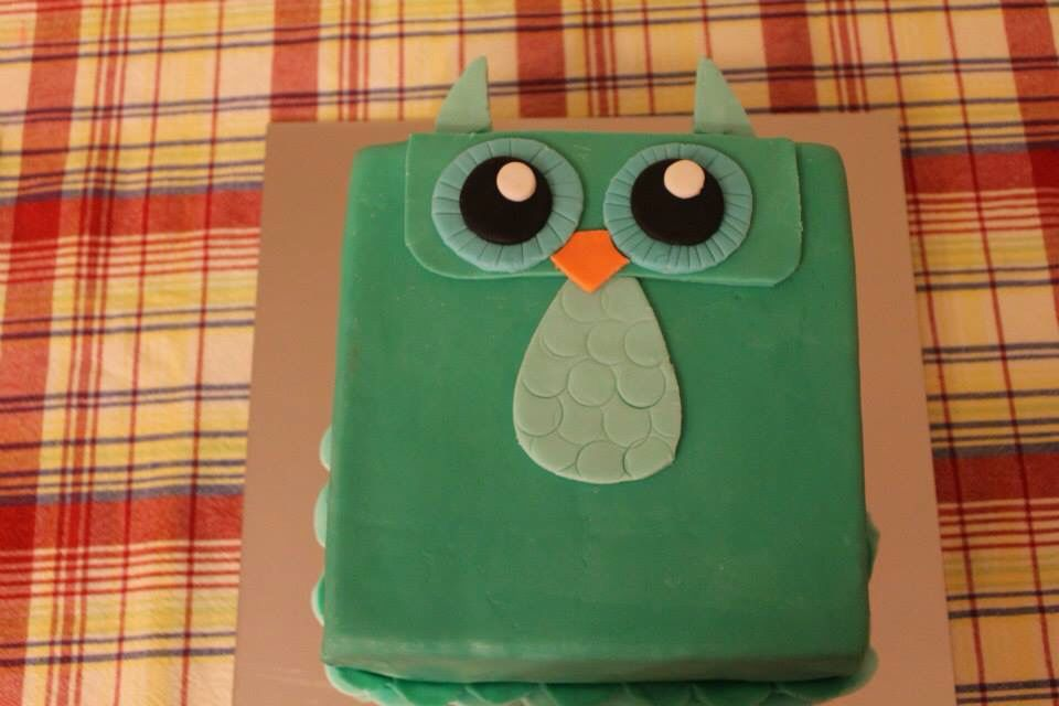 Green owl cake at berry sweet!