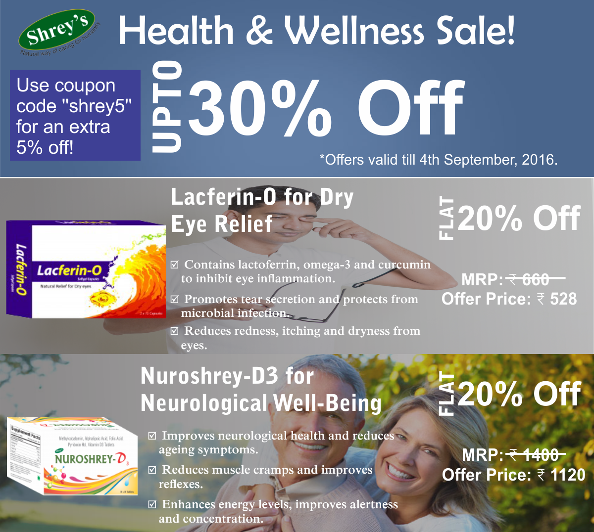 Two top selling Shrey's health supplement brands at flat 20
