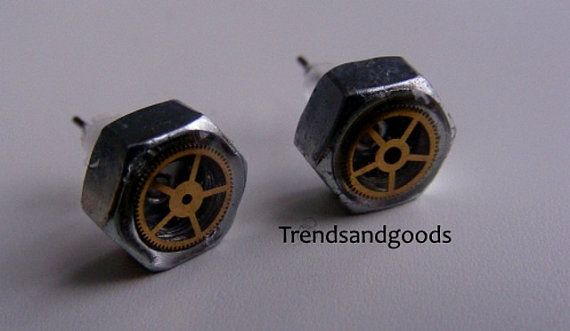 Steampunk Fake Plugs Stud Earrings Skrew Nuts by Trendsandgoods