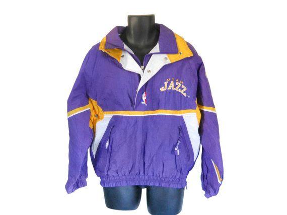 Vintage Utah Jazz 90s Starter Jacket Nylon Jacket 90s Pullover Men ...