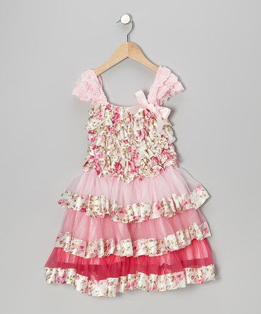 Take a look at this Pink Floral Tier Ruffle Dress - Infant, Toddler & Girls by Tutus by Tutu AND Lulu on #zulily today!