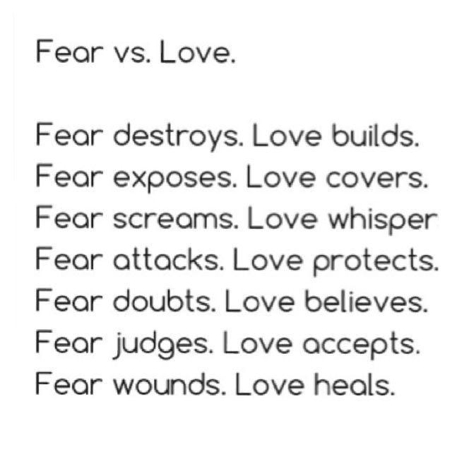 Image result for fear vs love