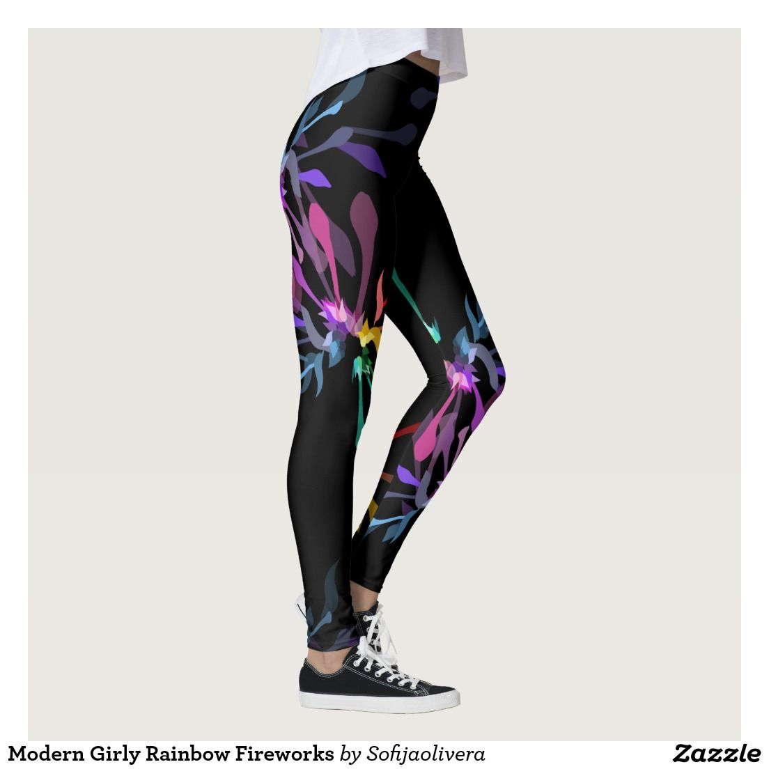 33507c5764e12 Edgy girly leggings print design. Vivid abstract pattern in colors of the  rainbow inspired by trance subculture, based on the stylized tubular flowers .