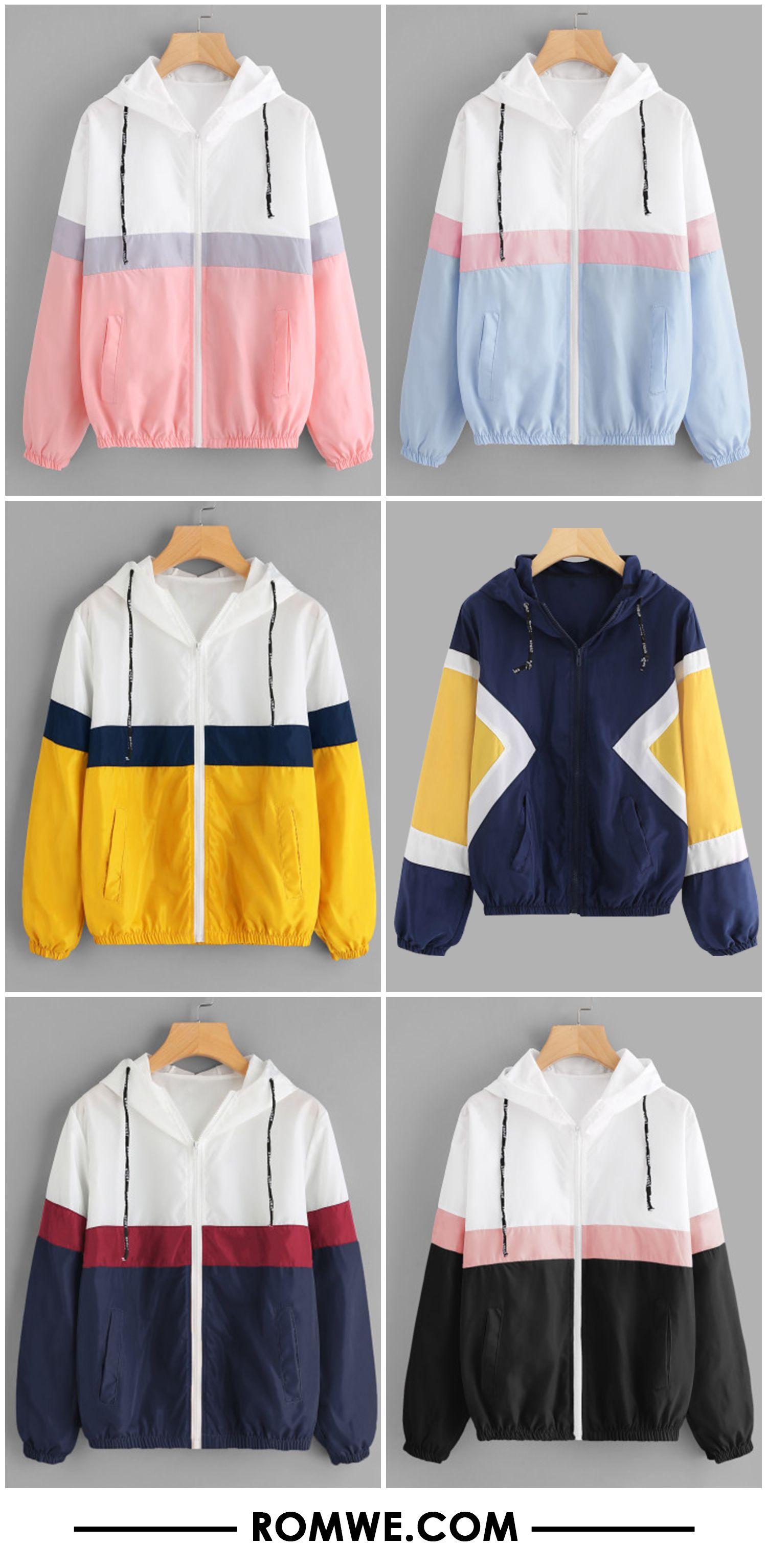 b4e6f52c89b9 Color Block Elastic Waist Drawstring Jacket | camisas | Ropa tumblr ...