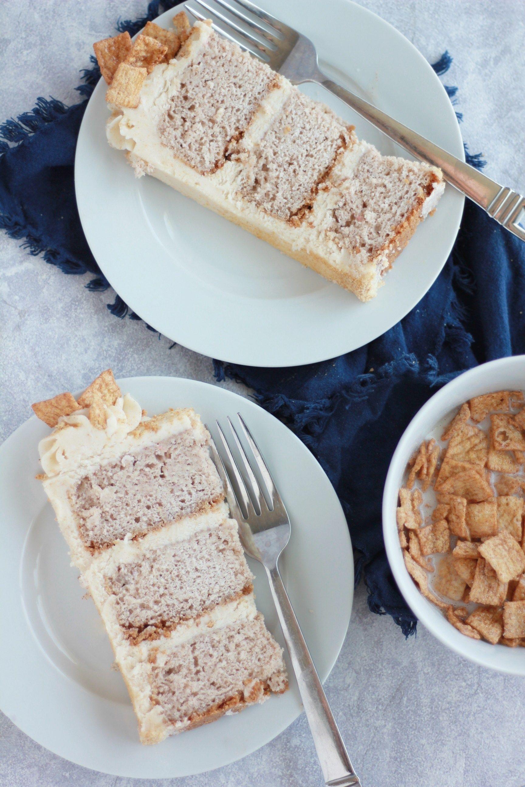 Cinnamon toast crunch cake baking with blondie no bake